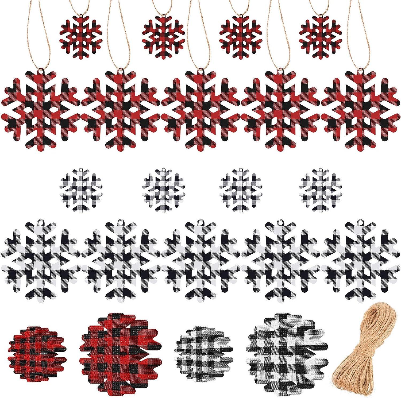 Tenare 60 Pieces Christmas Buffalo Plaid Decor Snowflake Ornament Christmas Paper Tags Christmas Tree Ornament with Plaid Snowflake Paper Cuts for Christmas Party Supplies