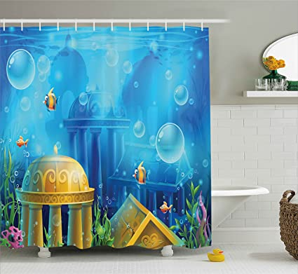 Ambesonne Ocean Decor Shower Curtain By, Ancient Atlantis Theme Under Sea  With Little Colorful Fish