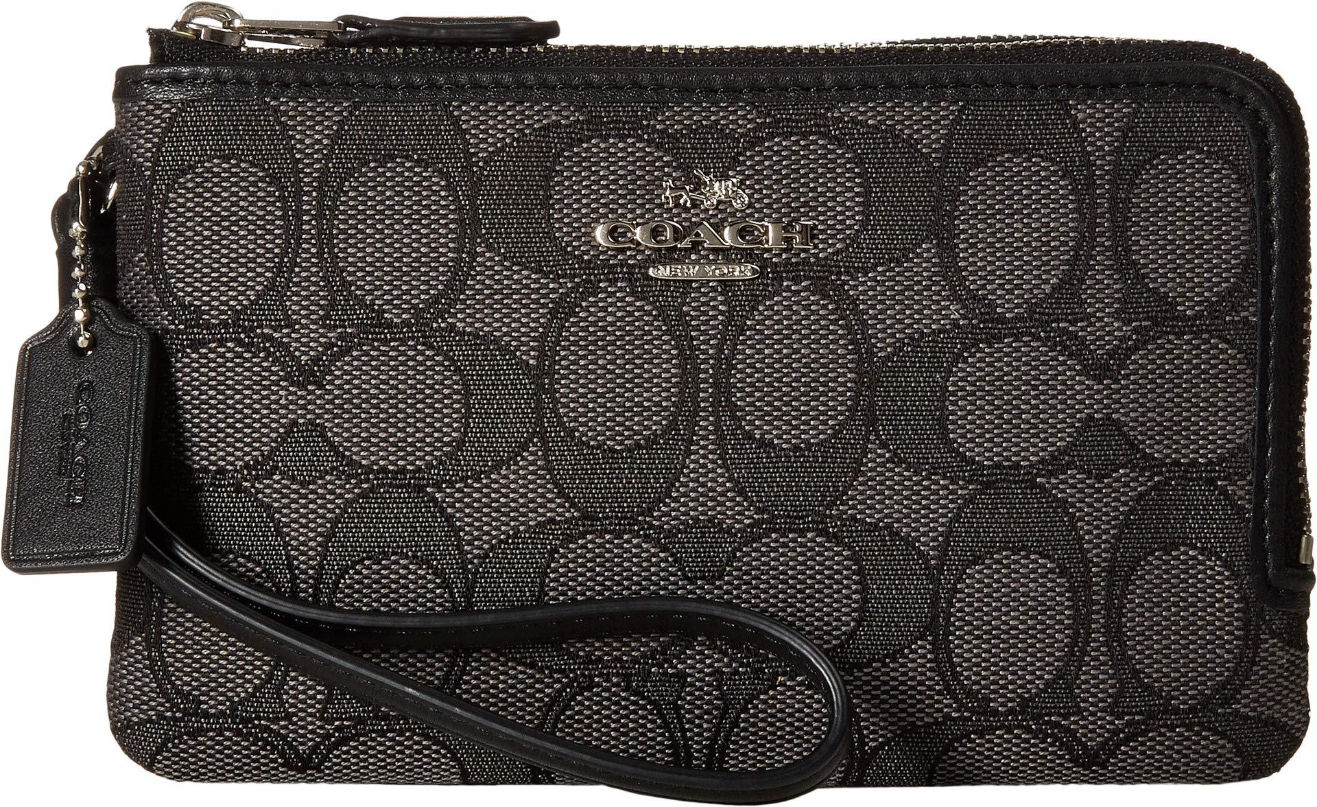 COACH Women's Signature Double Corner Zip Bag Silver/Black Smoke/Black Coin or Card Case