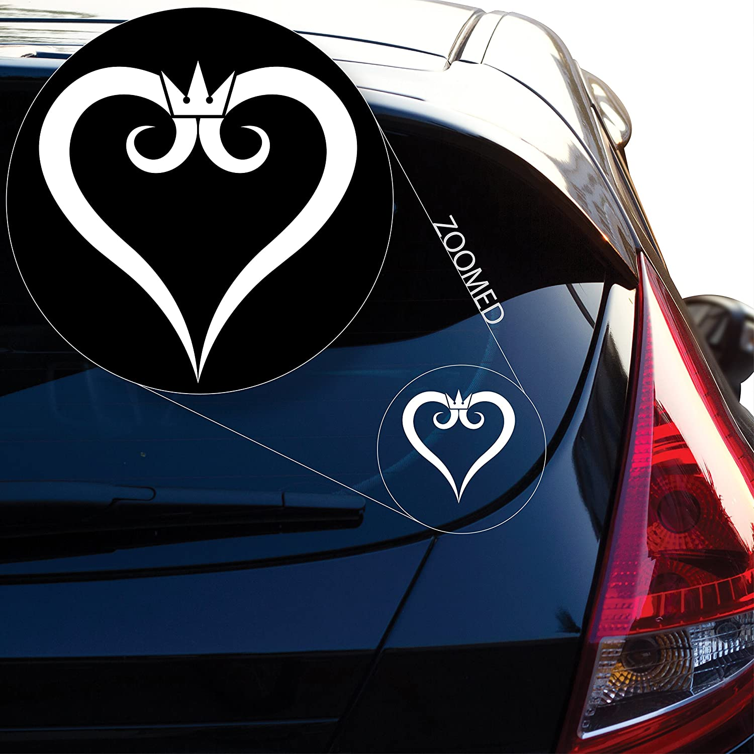 "Geekery Kingdom Hearts Inspired Heart Crown Decal Sticker for Car Window, Laptop and More. # 491 (4"" x 3.9"", White)"