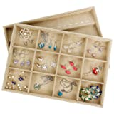 Valdler Sackcloth Stackable 12 Grid Jewelry Tray