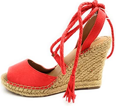 Maren Lace Up Wedge Espadrille Sandals
