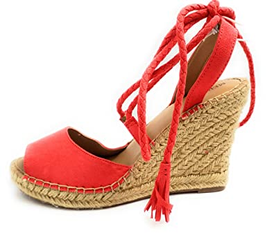 c687749781a Merona Women s Maren Lace Up Wedge Espadrille Sandals (11) Red