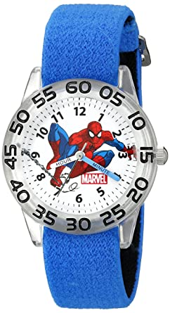4f86cd669 Image Unavailable. Image not available for. Colour  Marvel Kids  W002591  Spider-Man Time Teacher Analog Display Analog Quartz Blue Watch