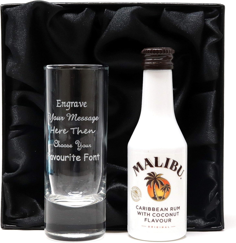 Bacardi Carta Blanca Personalised Tall Shot Glass /& Miniature Rum in Silk Lined Gift Box