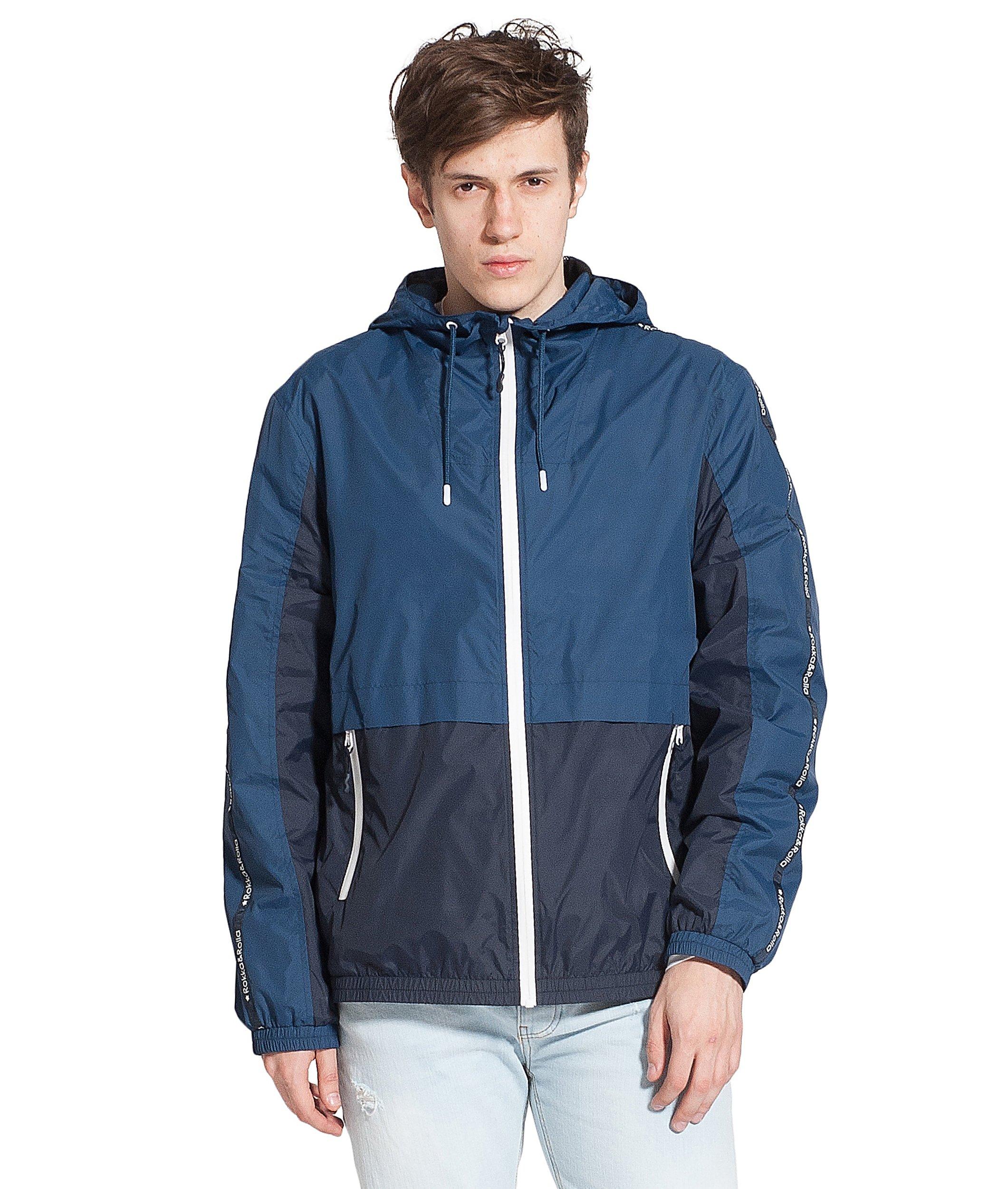 Rokka&Rolla Men's Lightweight Athletic Outdoor Rainproof Hooded Windbreaker Jacket