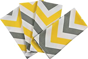 Crabtree Collection Deluxe Cotton Table Linens, Bright Colors for Kitchens and Dining Rooms - (Gray/Yellow Napkin Chevron Napkins)