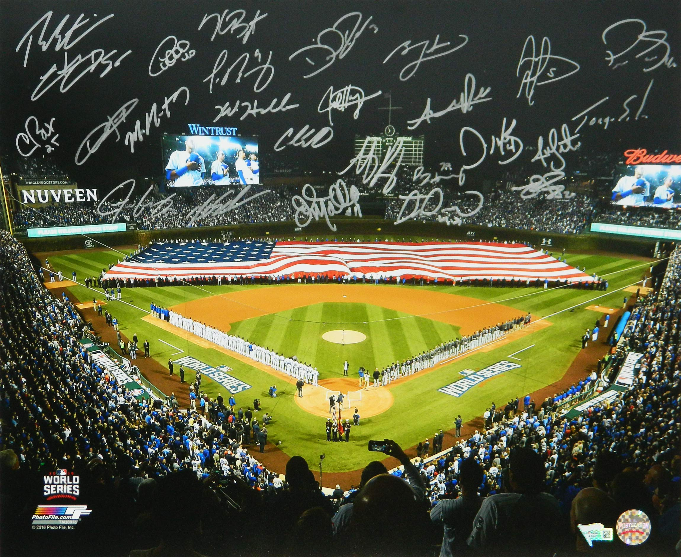 2016 Chicago Cubs Team Signed 2016 World Series American Flag On Wrigley Field 16x20 Photo (26 Sigs)