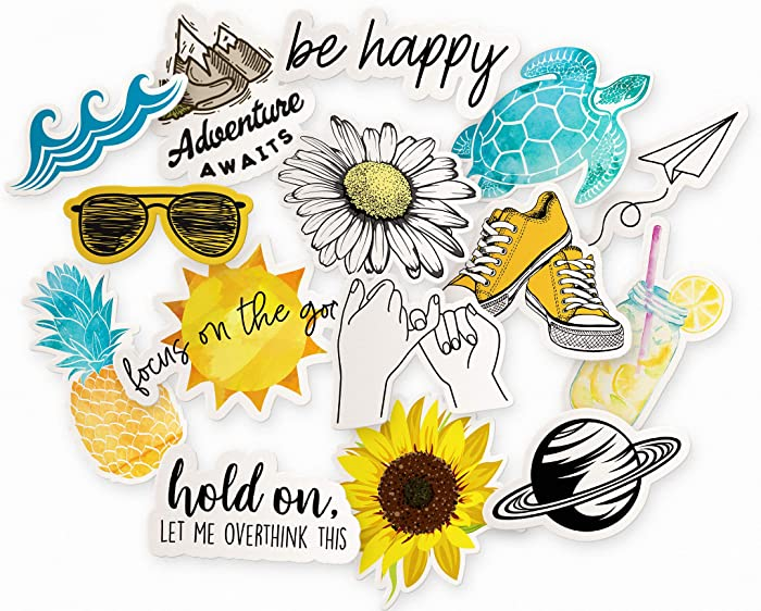 Cool & Trendy Aesthetic Laptop Sticker Pack | 15-Pack Yellow Summer Stickers for Water Bottles | Beach Themed Ocean Hydro Flask Decal Stickers | Floral Daisy/Sunflower Stickers for Girls Laptop