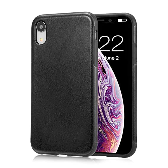 sports shoes 5da29 566d3 for iPhone XR Black Leather Case, for iPhone XR Case, Ultra Slim Fit iPhone  10R Artificial PU Synthetic Leather Cover Shock Resistance Protective for  ...