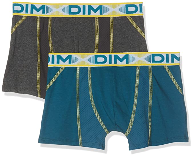 d765c6764676 Dim Lot De 2 Boxers 3D Flex Air, Bañador Niños, Gris (Dark Grey 28 ...