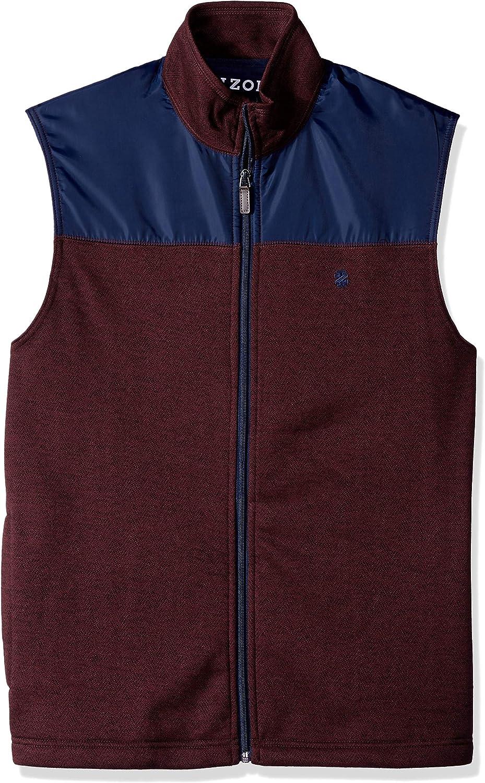 IZOD mens Advantage Performance Spectator Colorblock Fleece Vest