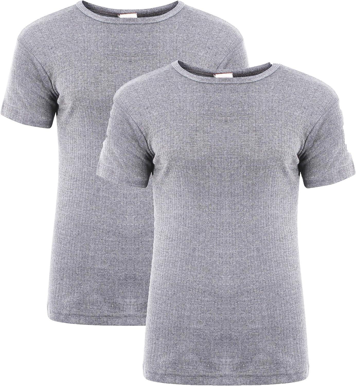 Heatwave® - Pack de 2 camisetas térmicas de manga corta para hombre, ropa interior cálida, talla S, M, L, XL, XXL, térmica, color gris Marl Gris XL: Amazon.es: Ropa y accesorios