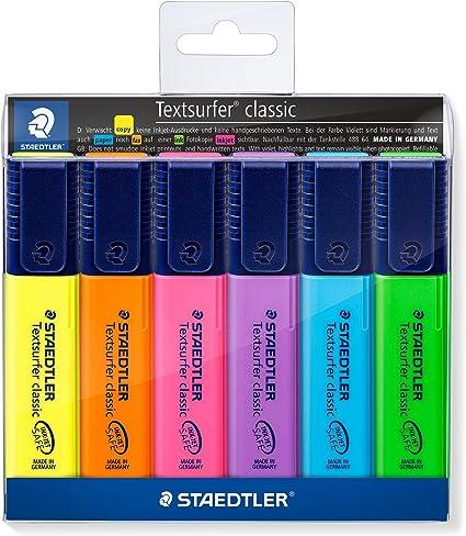 STAEDTLER 364WP6 - Estuche con 6 marcadores fluorescentes: Amazon.es: Oficina y papelería