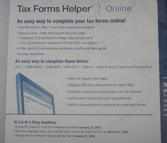 Amazon Adams 2017 W 2 Tax Forms Kit W2 For 40 Employees