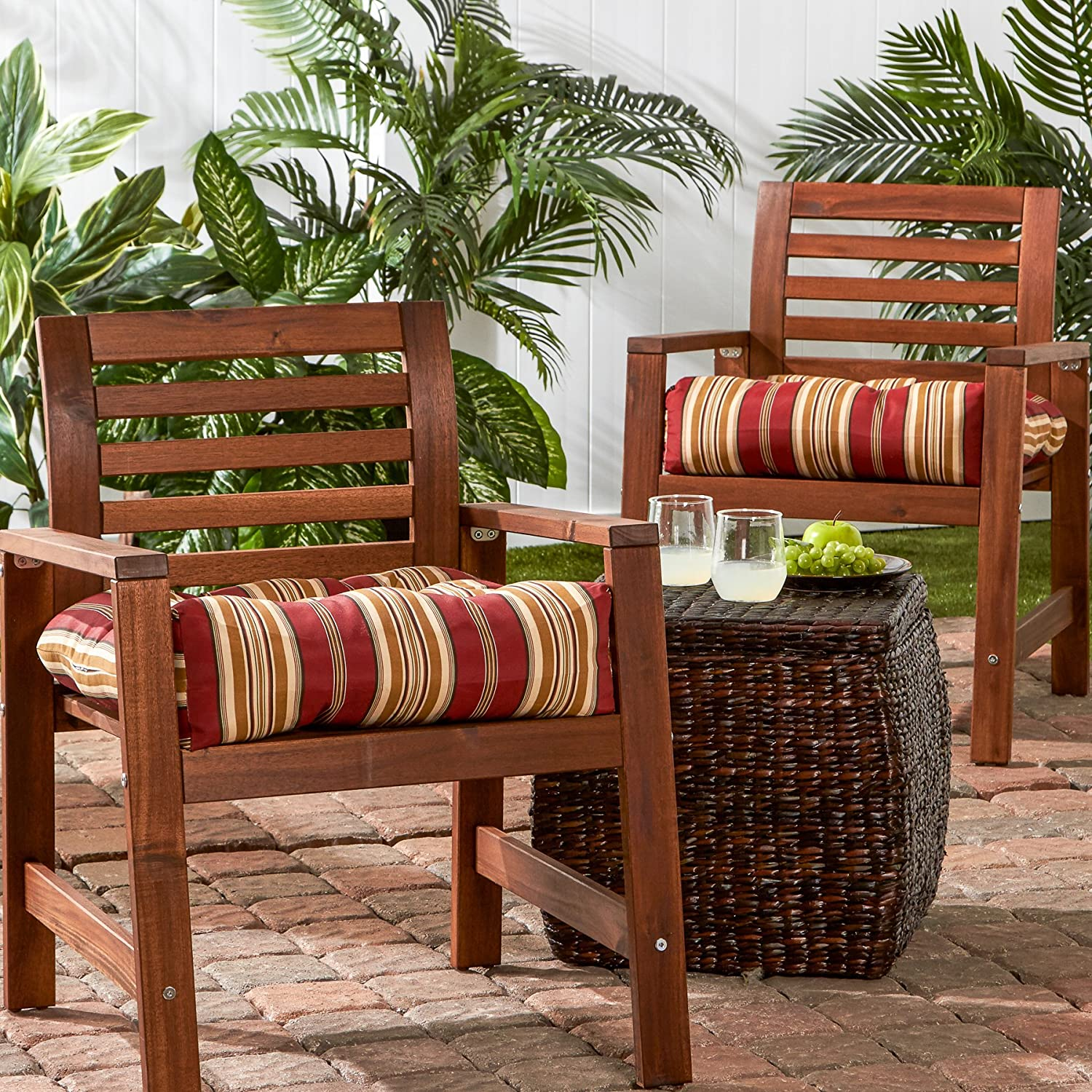 amazoncom greendale home fashions 20inch outdoor chair cushion set of 2 roma stripe home u0026 kitchen