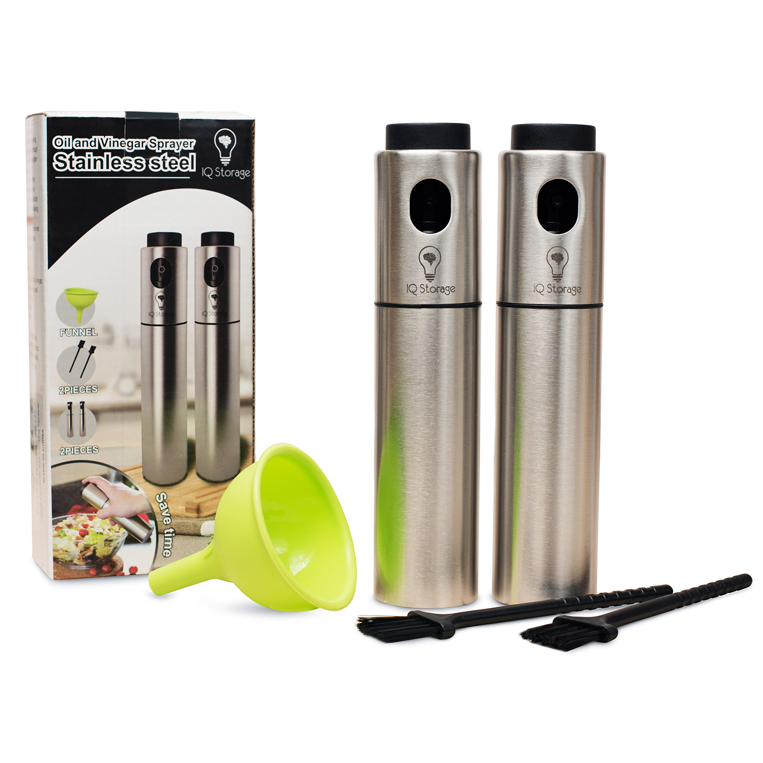 Oil And Vinegar Sprayer For Cooking By IQ Storage-Includes 2 Stainless Steel Refillable Mister Spray Dispensers, 2 Baking Brushes,1 Silicon Funnel-Ideal For Making Salad, BBQ, Grilling And Roasting