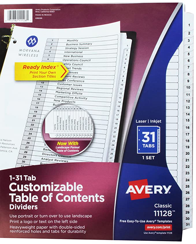 Amazon Ave11128 Avery Classic Table Of Contents Divider