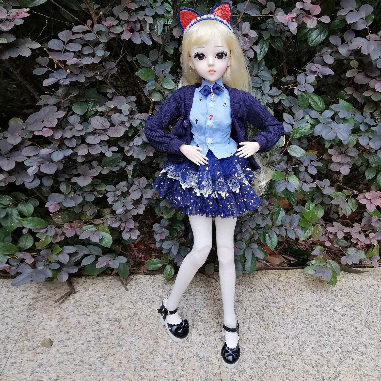 EVA BJD Doll 1/3 sfera meccanica snodato bambola con L'Insieme completo di Vestiti cappotto Scarpe Calze Capelli Pantaloni Accessori, Altezza 1.9ft 23in (Ellie) Linda