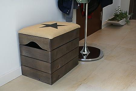 Liza line baule in legno noce marrone di stoccaggio sgabello