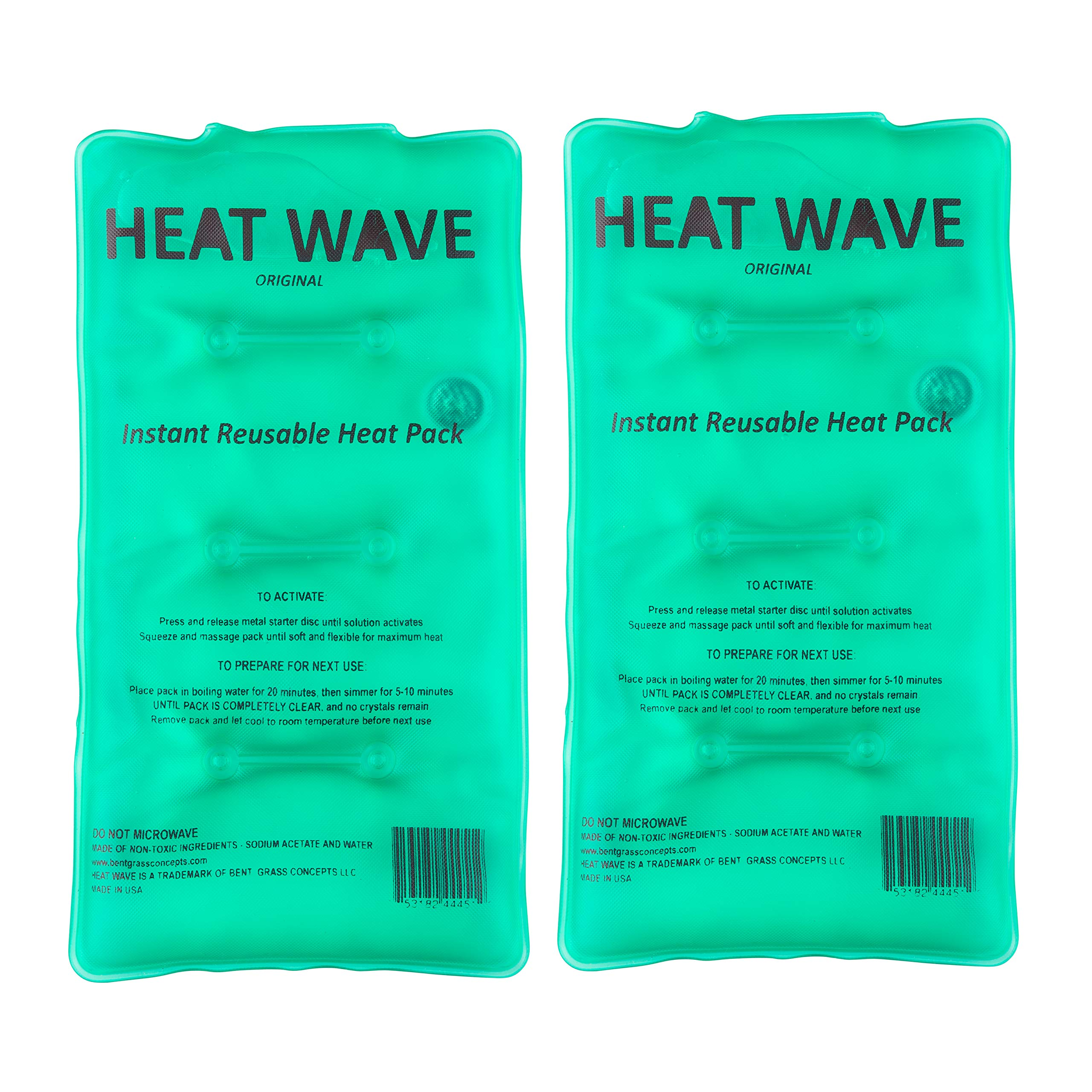 HEAT WAVE Instant Reusable Heat Packs - 2 Medium (5x9''), Reusable Heat Pack for Muscle Aches, Back Pain, Pain Relief, Click Heat - Made in USA by Heat Wave