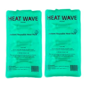 "HEAT WAVE Instant Reusable Heat Packs – 2 Medium (5x9""), Reusable Heat Pack for Muscle Aches, Back Pain, Pain Relief, Click Heat - Premium Medical Grade - Made in USA"