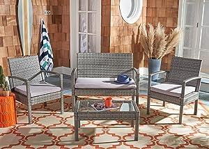 Safavieh PAT7507B Collection Bassey Grey 4-Piece Outdoor Living Patio Set