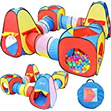 Joyin Toy 8 in 1 Pop-up Play Tent Tunnel Including 4 Kids Play Tunnels, 2 Cubic Tents and 2 Triangle Tents Perfect for Ball Pit Playing