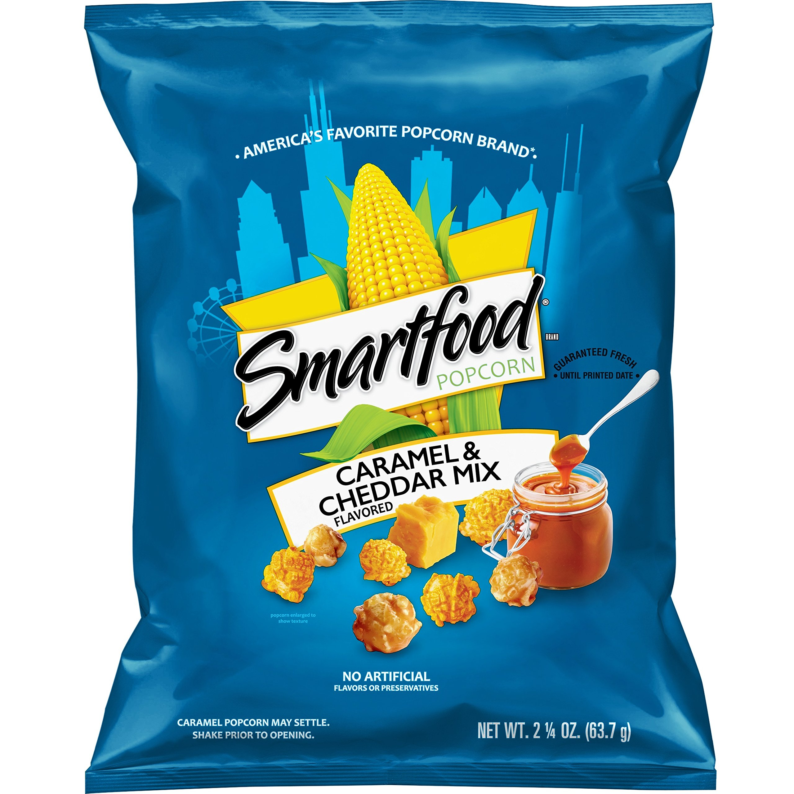 Smartfood Cheddar & Caramel Mix Popcorn, 2.25 Ounce Bags (Pack of 8) by Smartfood