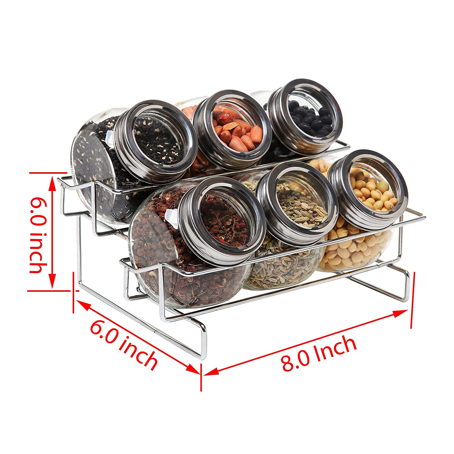 amazon com 6 jar metal and glass food spice kitchen storage amazon com 6 jar metal and glass food spice kitchen storage container rack mygift kitchen dining