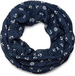 Großes Halstuch maritime Motive Anker Steuerrad Tuch blau weiß Nikkituch