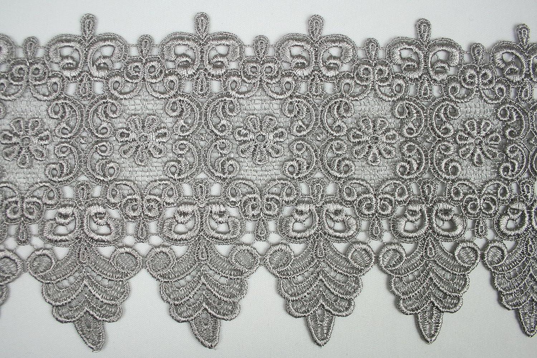 Gray 10 Colors Floral Embroidered Scalloped Venise Guipure Applique Lace Trim
