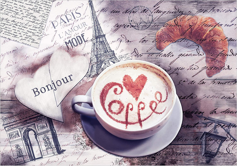Papier peint intiss/é Caf/é Paris 50x35 cm Trompe l oeil decomonkey D/éco Mural Tableaux Muraux Photo Tour Eiffel Inscription