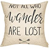 """Fjfz Not All Who Wander Are Lost Motivational Sign Travel Quote Cotton Linen Home Decorative Throw Pillow Case Cushion Cover with Words Sofa Couch, 18"""" x 18"""""""