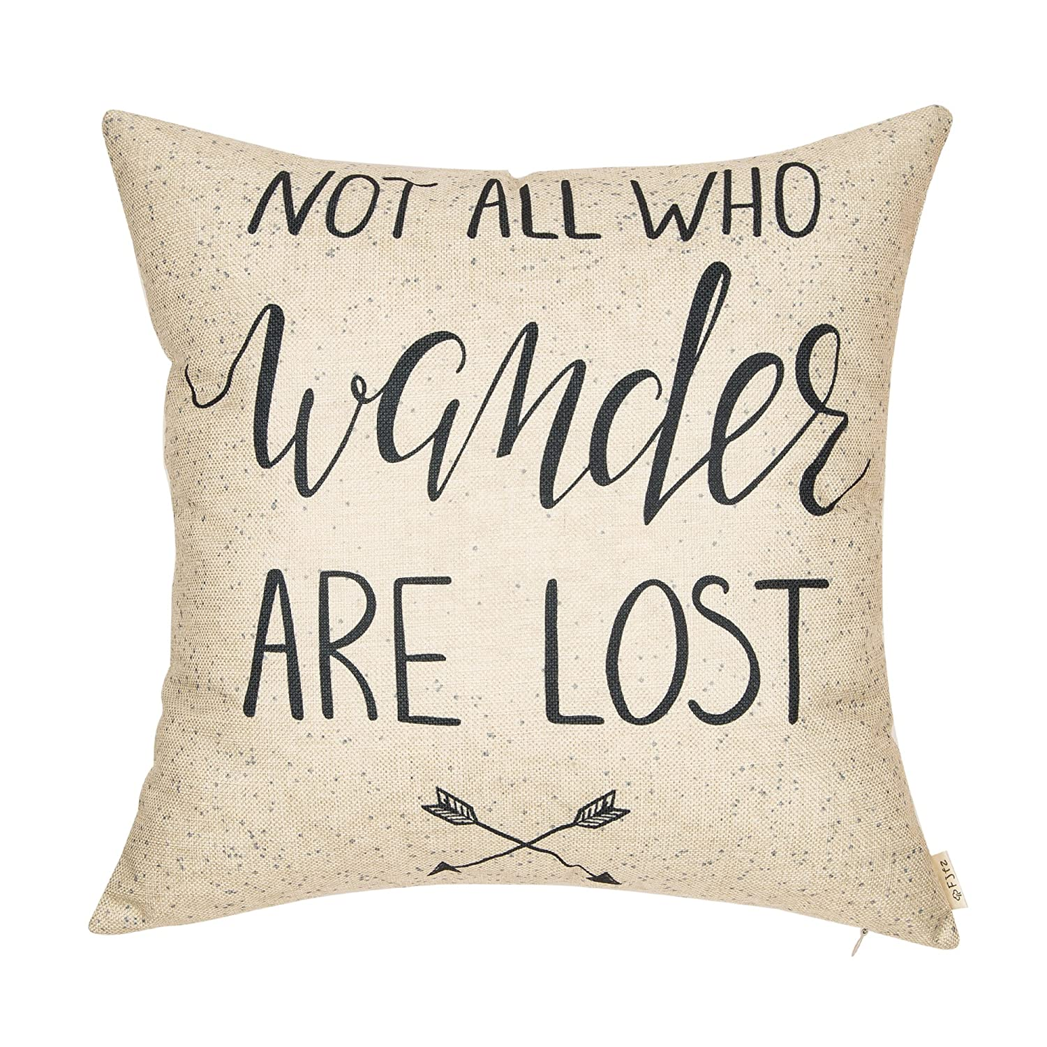 """Fjfz Not All Who Wander are Lost Motivational Sign Travel Décor Summer Decoration Cotton Linen Home Decorative Throw Pillow Case Cushion Cover with Words Sofa Couch, 18"""" x 18"""""""