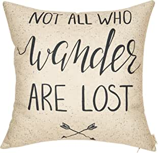 "Fjfz Not All Who Wander are Lost Motivational Sign Travel Décor Summer Decoration Cotton Linen Home Decorative Throw Pillow Case Cushion Cover with Words Sofa Couch, 18"" x 18"""