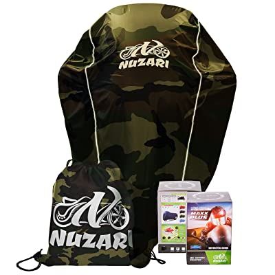 Breathable Motorcycle Cover W/elastic Bottom. Premium Heavy Duty Outdoor Waterproof All Season Polyester W/soft Screen Shield. Universal Heat Resistant Lockable Fabric (Camouflage, Medium): Automotive