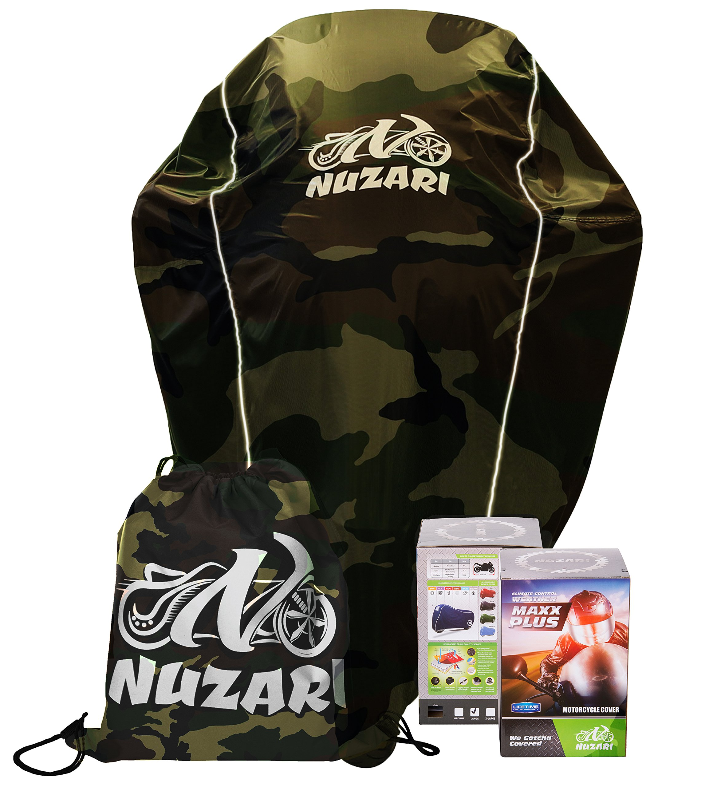 Premium Weather Resistant Covers Waterproof Polyester w/Soft Screen & Heat Resistant Shields.Motorcycle Cover has Lockable fabric, Durable & Long Lasting.Sportbikes & Cruisers (XX-Large, Camouflage) by Nuzari (Image #4)