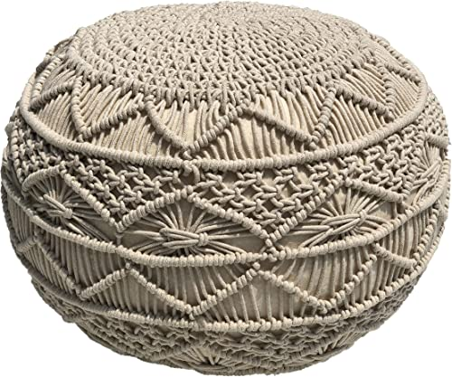 Pouf Ottoman Hand Knitted Cable Style Dori Pouf – Macram Pouf – Floor Ottoman – 100 Cotton Braid Cord – Handmade Hand Stitched – Truly one of a Kind Seating – 20 Diameter x 14 Height Natural