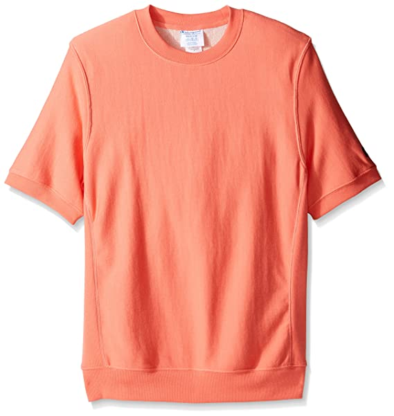 4078bb515 Champion Men's Life Reverse Weave French Terry Short Sleeve Crew, Ripe  Papaya Red, ...