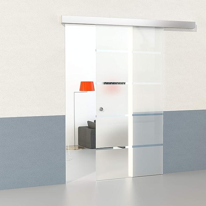 DURADOOR Juego de cristal de seguridad en 5 de puerta corredera de cristal rayas diseño 2050 mmx900 mm Puerta Corredera de Cristal sobre ruedas Puerta corrediza Puerta de Cristal Templado de Juego
