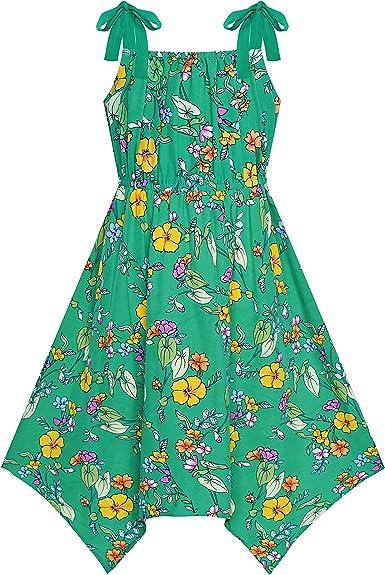 Sunny Fashion Vestido para niña Verde Flor Asimétrico Dobladillo ...
