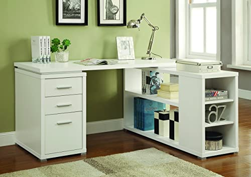Coaster Yvette L-Shape Office Desk White White/Casual