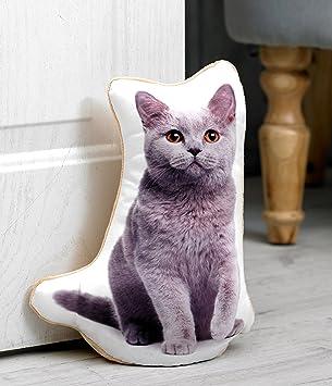 British azul gato los amantes de los regalo - Calidad Azul tope para puerta, diseño de gatos hecha de raso y suave terciopelo Telas.