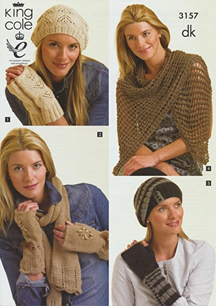 Ladies DK Winter Hats 3157 Gloves /& Scarves Knitting Pattern King Cole Womens