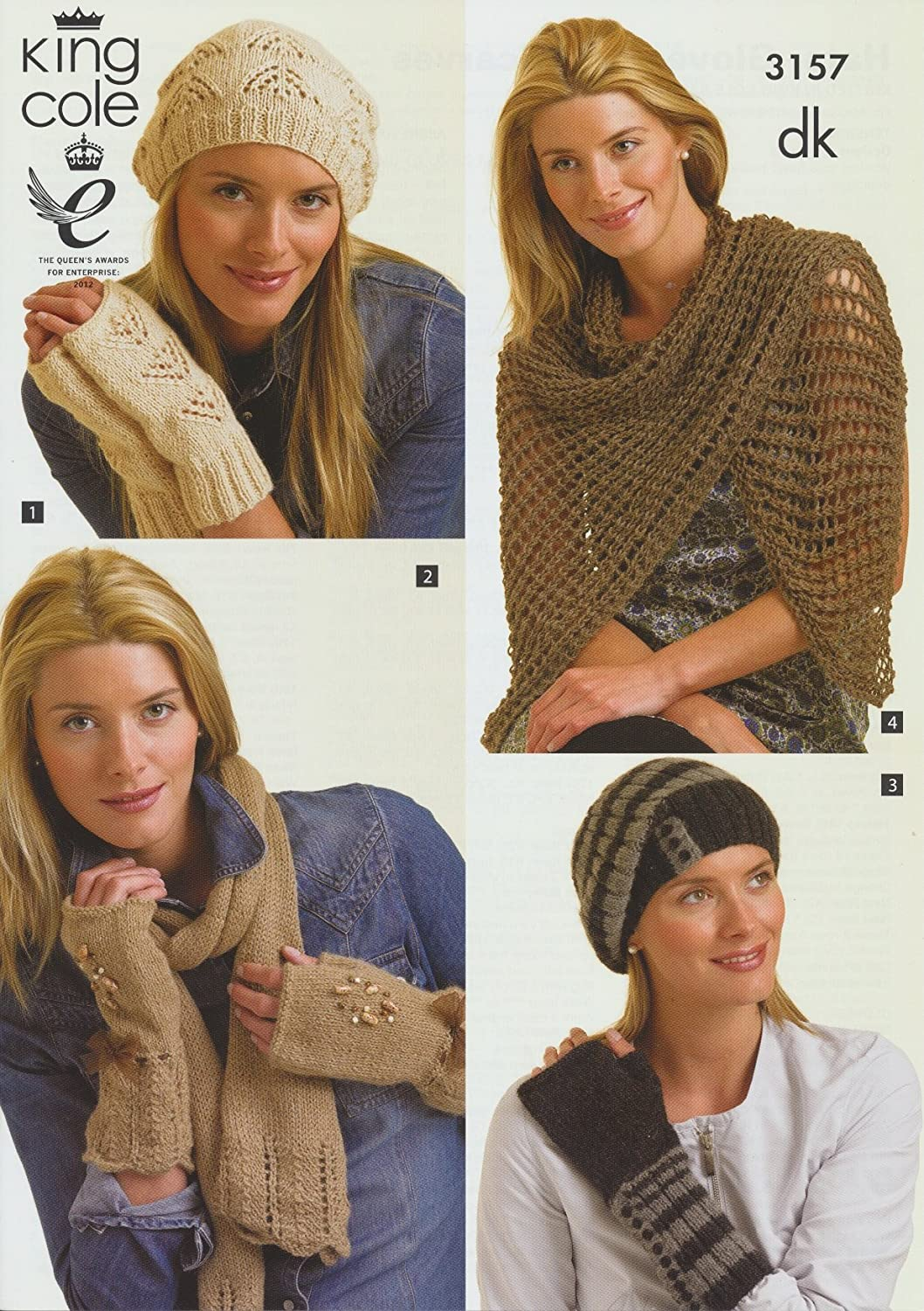 King Cole Ladies DK Knitting Pattern Womens Winter Hats, Gloves & Scarves In Four Designs