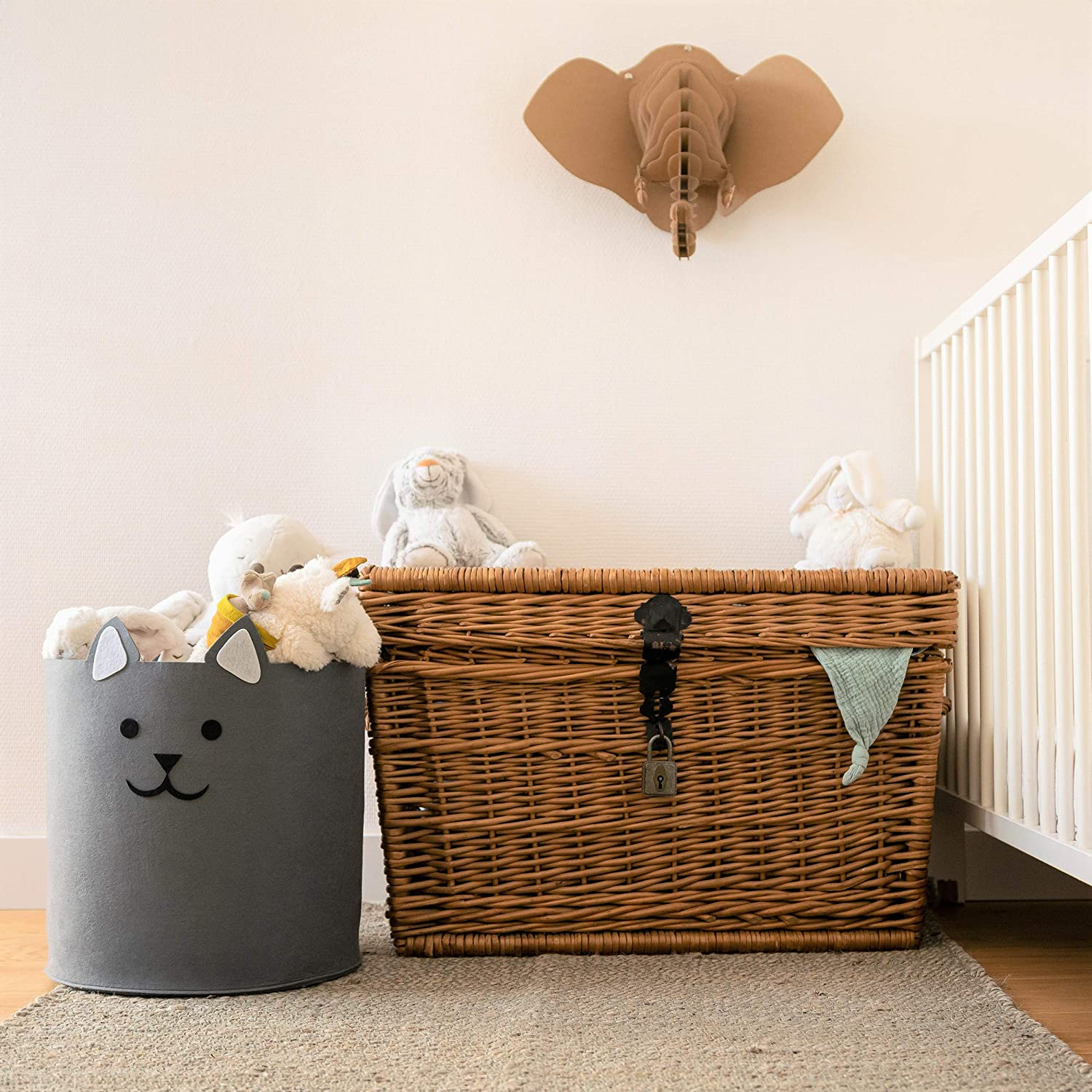 Grey Cat 30L//8 Gallon Toddler /& Baby Washing Basket Made of 100/% Eco-Friendly Large Washable 35x35cm//14x14 Recycled Felt Material Budding Bear Soft Toy Storage for Nursery /& Kids Bedrooms