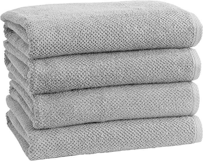 100% Cotton Quick-Dry Bath Towel Set (30 x 52 inches) Highly Absorbent, Textured Popcorn Weave Bath Towels. Acacia Collection (Set of 4, Light Grey)