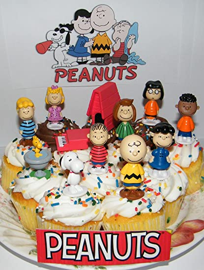 peanuts movie classic figure set of 13 mini cake toppers cupcake decorations party favors with