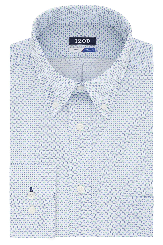 Izod Mens Dress Shirts Regular Fit Stretch Print Dress Shirt